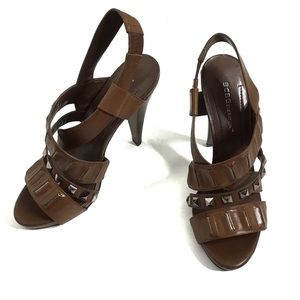 NWT BCBG Brown Strappy Sandal Heels